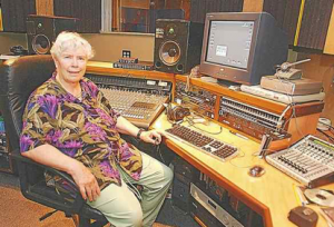 Pauline Oliveros in her Kingston studio, July 2002. Photo courtesy of Kingston Daily Freeman.