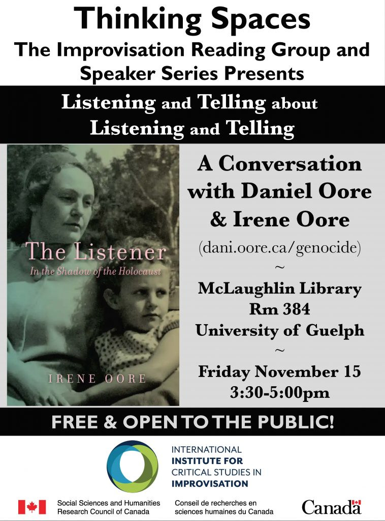 Thinking Spaces event Listening and Telling poster with cover of the book The Listener and details about the event