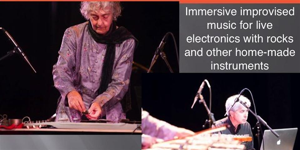 Lithophonica graphic with photos of James Harley and Gayle Young performing.