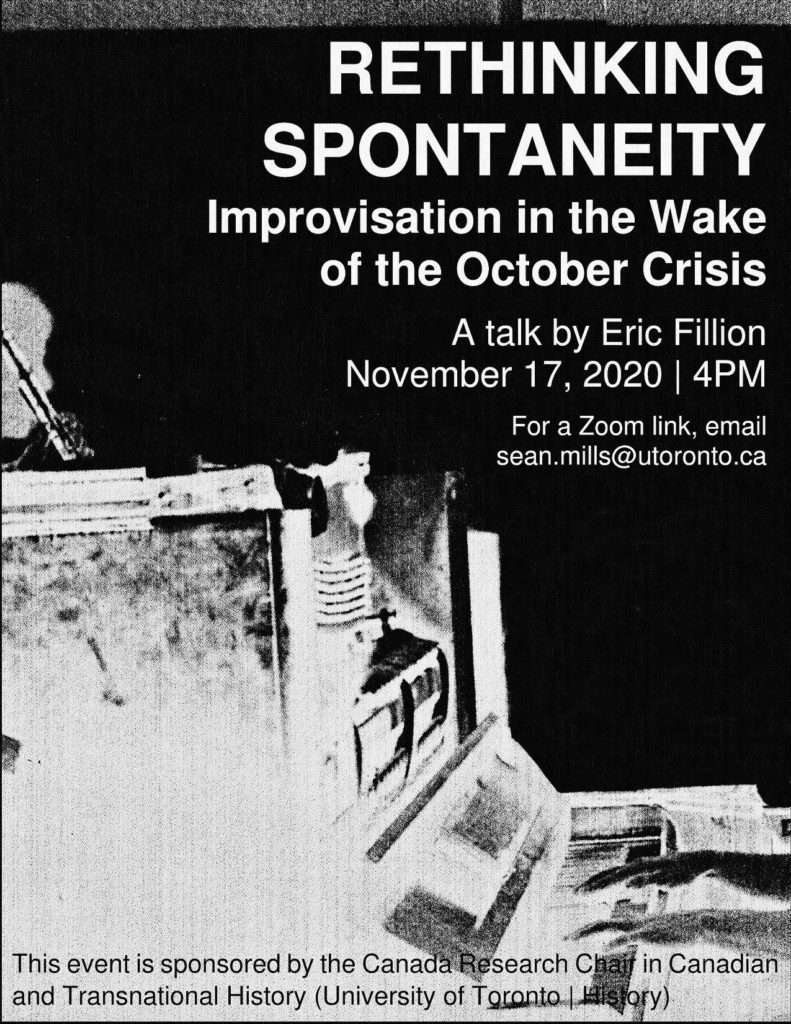 poster for Rethinking Spontaneity: Improvisation in the Wake of the October Crisis