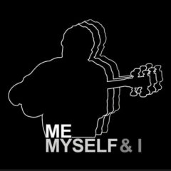 black and white graphic of a figure and the words me myself & !