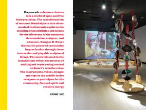 Crepuscule instruments exhibition installation photo and a quote by Suzanne Luke about the Crepuscule exhibition