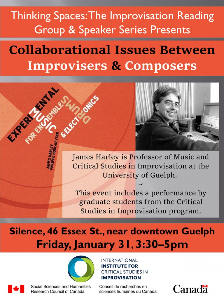 Thinking Spaces poster for James Harley lecture and CD release