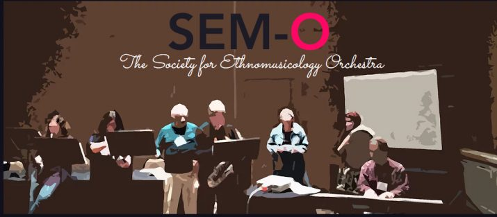 sem-o graphic - a photoshoped image of people playing instruments together on stage.