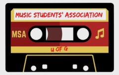 "A cassette tape reads ""Music Students' Association"""