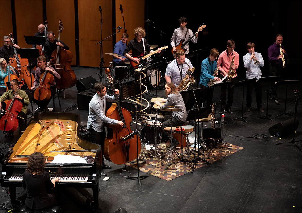 The Guelph Youth Jazz Ensemble with Brent Rowan, Philip Mayer, Ben Finley, and the Guelph Symphony Orchestra performing with Marianne Trudel at the 2020 ArtsEverywhere Festival